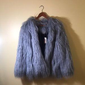 NEW WITH TAG (NWT) LOFT Dusty Blue Faux Fur Jacket